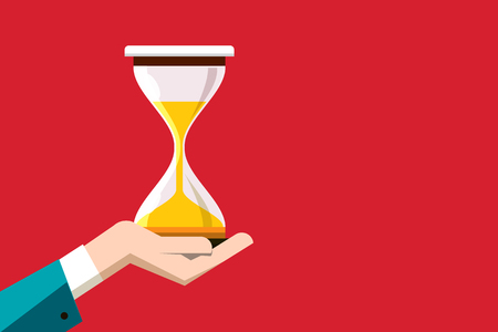 Flat Design Hourglass in Human Hand on Red Background. Vector Sand Clock Symbol with Empty Space on Right Side.