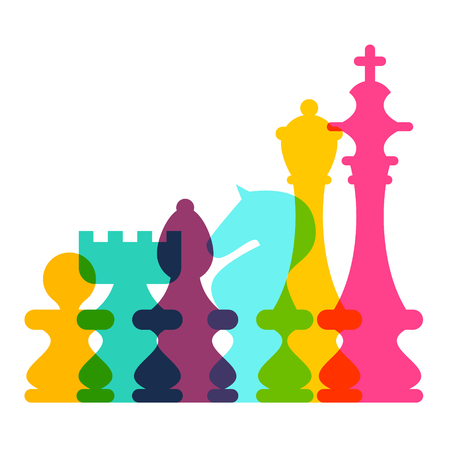 Colorful Vector Transparent Chess Pieces on White Background