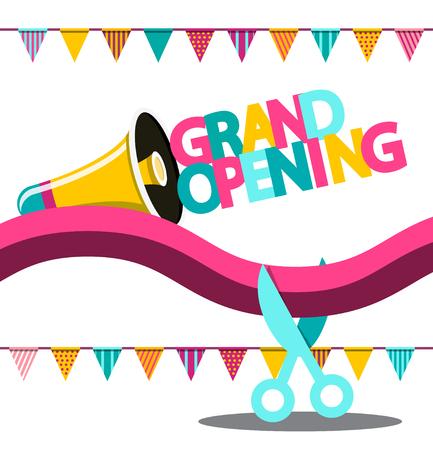 Grand Opening Vector Banner Illustration