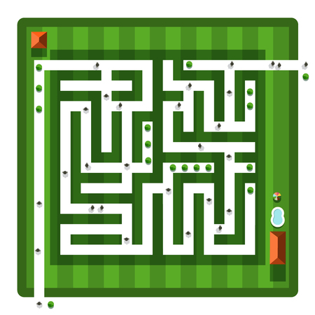 Top View Maze. Vector Aerial View Hedge Labyrinth with People and Buildings.