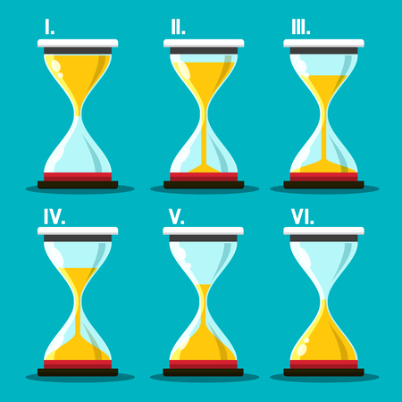 Hourglass Icon. Vector Sand Clocks Set. Sandglass Symbol. 일러스트