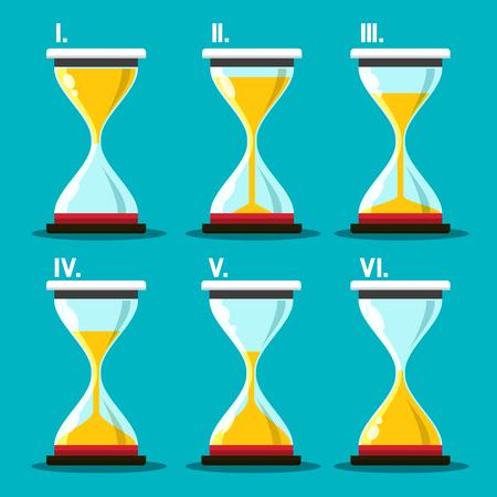 Hourglass Icon. Vector Sand Clocks Set. Sandglass Symbol. Ilustracja
