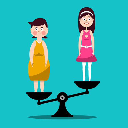Fat and Slim Women on Scales - Vector Flat Design Illustration Illustration