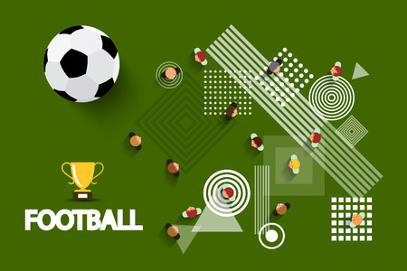 Vector Football - Soccer Playground with Ball and Gold Cup. Aerial Field View with Abstract Shapes on Ground