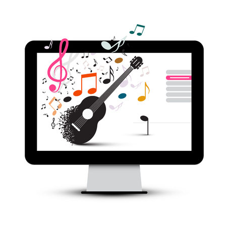 Guitar and Notes in Computer Screen icon