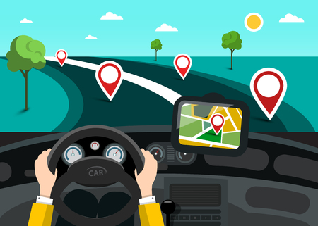 Road Map with Hands on Steering Wheel and Pins on the Road  イラスト・ベクター素材