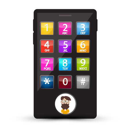 Cell Phone with Numbers and Man Avatar on Screen. Vector Mobile with Dial.