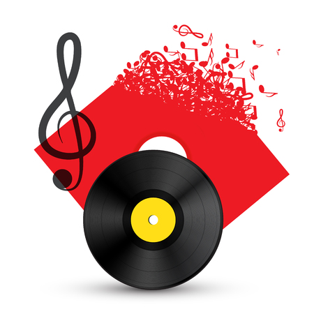Treble Clef with Vinyl Record Disc. Vector Audio Music Concept with Notes on LP Cover. Illustration