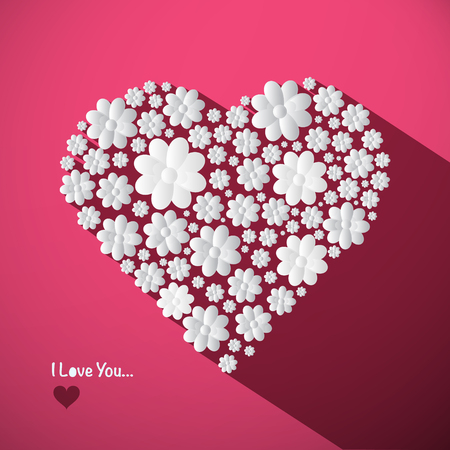 I Love You Concept with Big Heart Made from Paper Cut Flowers on Pink Background. Romance Symbol. Ilustração