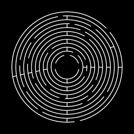 Circle Maze on Black Background. Top View Vector Labyrinth Concept.