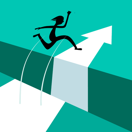 Jumping Above Gap. Jump Over Abyss. Vector Illustration with Arrow. Courage Concept. Silhouette of Successful Jumper. Stock Illustratie