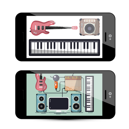 Sound and Music App with Keyboard, Guitar and Speakers on Phone - Vector Retro Mobile Recording Studio Illustration Ilustrace