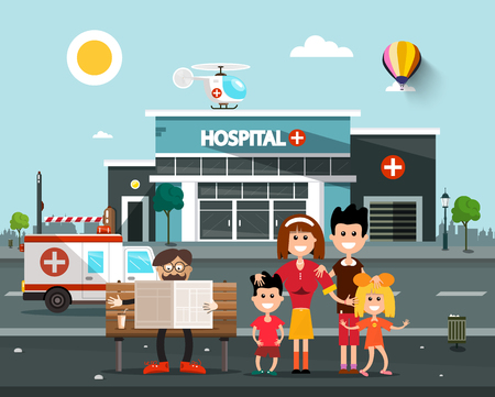 Happy Family In front of Hospital Building with Old Man Reading Newspapers on Bench.  Vector Flat Design Cartoon. Illustration