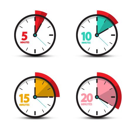 5, 10, 15, 20 minuten analoge klokpictogrammen. Vector tijdsymbool.