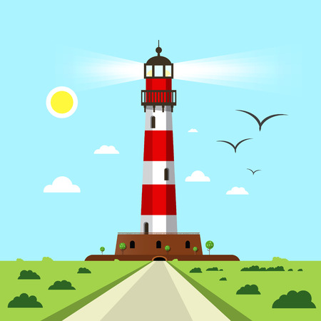 Lighthouse  - Beacon Vector Illustration with Landscape