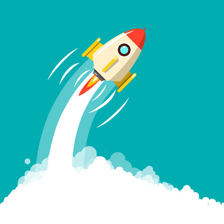Rocket Launch. Business Startup ymbol. Vector Space Travel Concept.