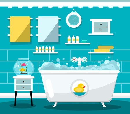 Vector Flat Design Bathroom with Bathtub Illustration