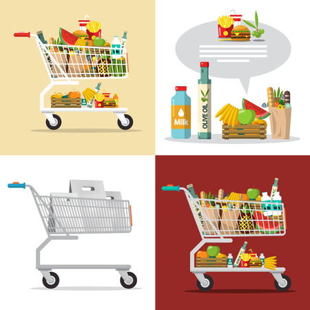 Food and Drinks in Shopping Cart. Vector Shopping Center Goods Illustration.
