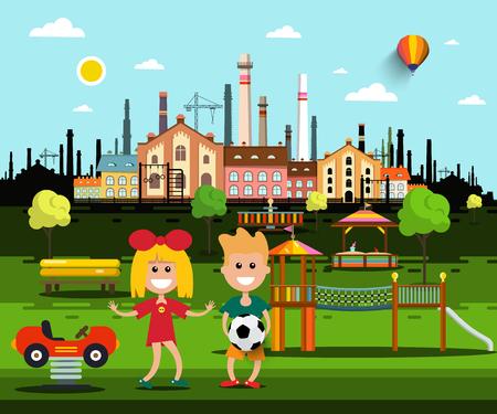 Bambini sul parco giochi nel parco con City Factory sullo sfondo