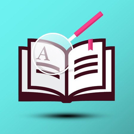 Book Icon with Magnifying Glass on Blue Background. Knowlage Vector Symbol.