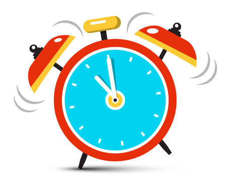 Ringing Alarm Clock Icon with Five Minutes to Twelve O'clock