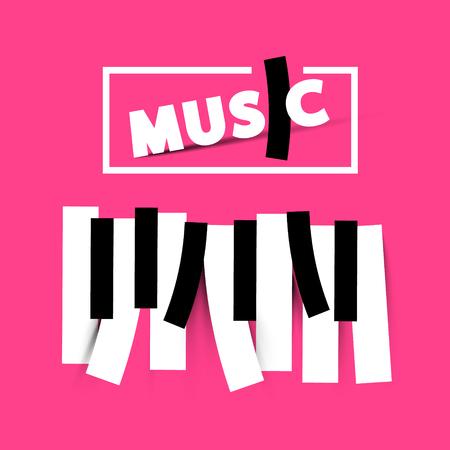 Vector Music Symbol on Pink Background Stock Illustratie