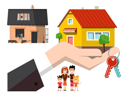 House Construction with Keys and New Final Building in Hand and Happy Family Vector Illustration