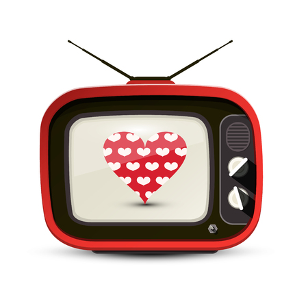 Heart on Red Retro TV Isolated on White Background. Soap Opera Vector Symbol.