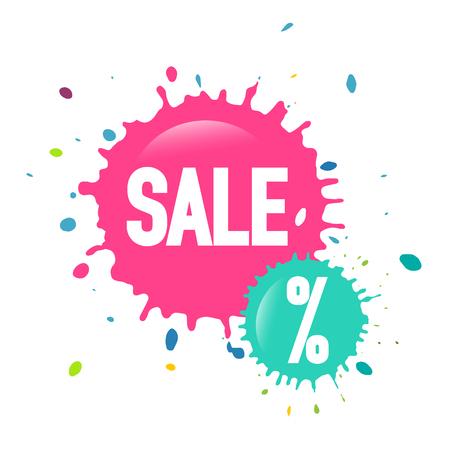 Sale Web Icon - Vector Discount Splashes Labels Illustration