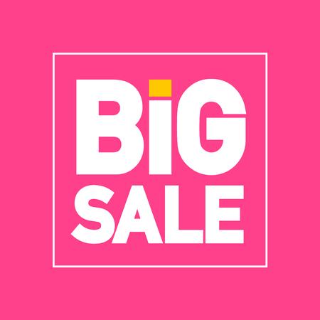 Großer Verkaufs-flaches Design-Vektor-Etikett auf rosa Hintergrund