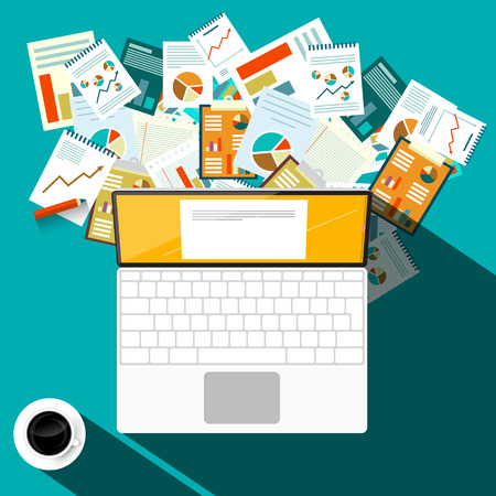 Paperwork Design with Laptop Computer and Coffee on Table. Vector Top View Illustration. Ilustrace