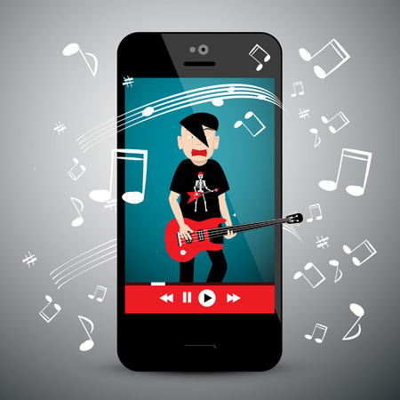 Music App on Cellphone. Rock Guitar Player with Notes. Songs Playlist Symbol on Mobile Phone. Ilustração