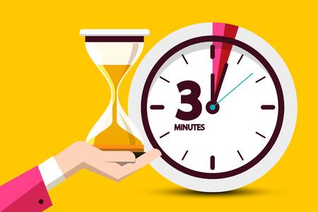 Conception de compte à rebours de trois minutes sur fond jaune. Symbole de temps de conception plate de vecteur. Icône de sablier d'horloge avec signe de 3 minutes.
