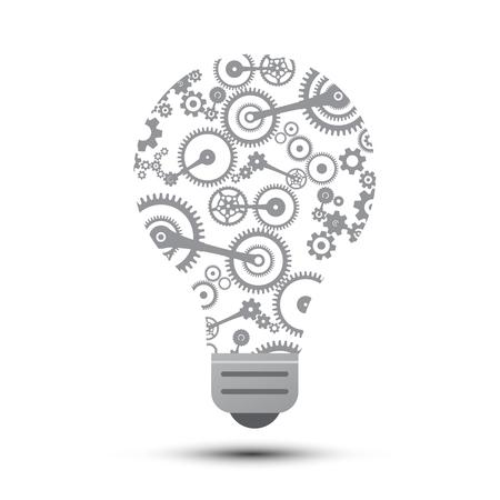Idea Concept with Cogs inside Bulb