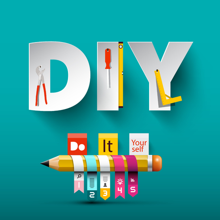 Vector Do it Yourself Design with Paper Cut Letters, Tools and Pencil.
