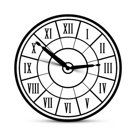 Retro Vector Clock Icon with Roman Numbers Isolated on White Background