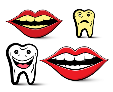 Cleaning Teeth Design with Yellow and White Teeth Reklamní fotografie - 126610299