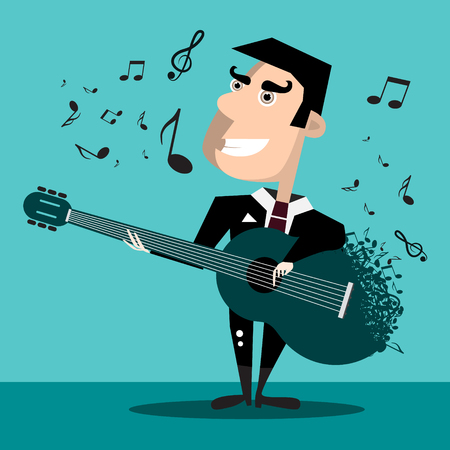 Famous Singer with Guitar and Notes. Vector Music Design on Blue Background. Reklamní fotografie - 126610300