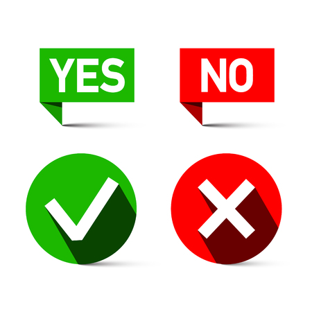 Yes and No Icons Isolated on White Background. Vector Green and Red Check Marks - Tick and Cross Symbols. Reklamní fotografie - 126610301