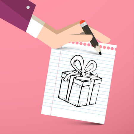 Gift Box on Paper Notebook with Pencil in Hand - Vector Reklamní fotografie - 126610302