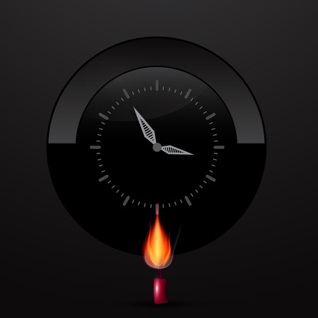 Clock Face on Black Background with Lit Candle Vector Illustration