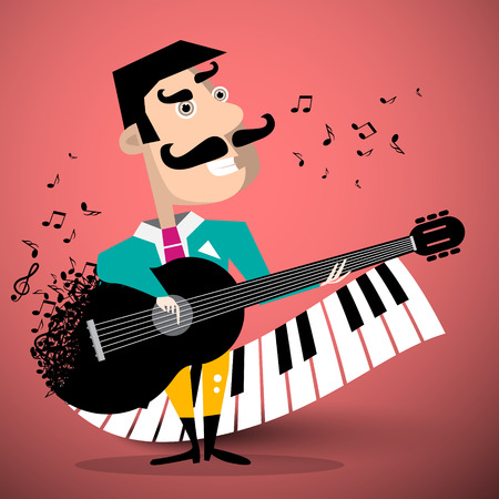 Moustache Man Playing Guitar with Piano Keyboard and Notes on Background