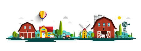 Rural Vector Landscape Panorama with Barn, Houses, Windmills and Tractor