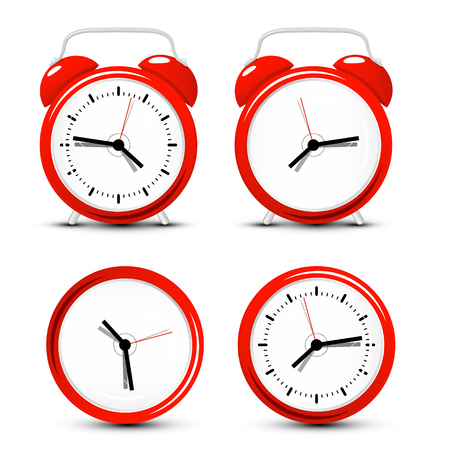 Red Vector Alarm Clock Set Isolated on White Background Ilustrace