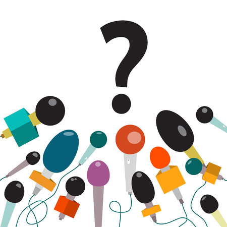 Question Mark with Microphones Isolated. Vector New Business Announcement Concept. Ilustrace