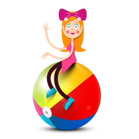 Girl Sitting on Colorful Beach Ball Isolated on White Background Reklamní fotografie - 126610319