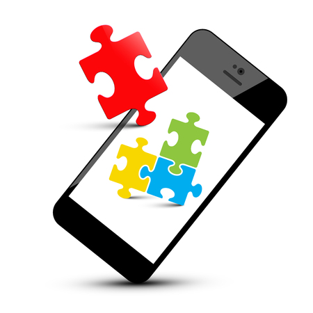 Colorful Puzzle Pieces on Smartphone. Mobile Phone and Jigsaw Isolated on White Background. Reklamní fotografie - 126610324