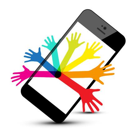 Colorful Hands on Phone Isolated on White Background. Vector Social Media Symbol. Ilustração