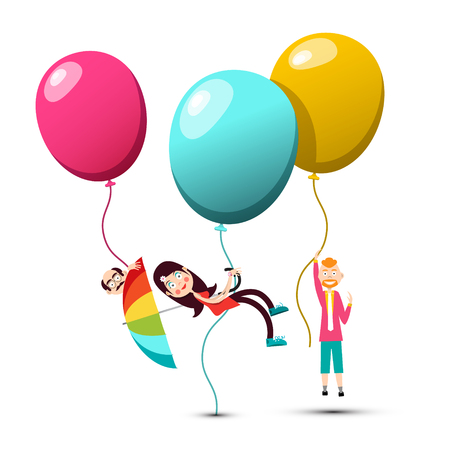 People Flying on Colorful Balloons Ilustrace