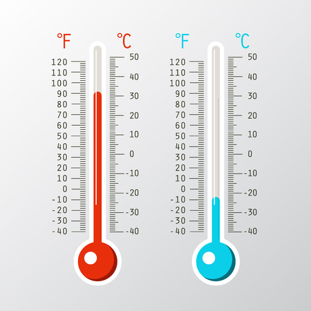 Vector Thermometer Icons with Cold and Hot Levels on Celsius and Fahrenheit Scale Reklamní fotografie - 126584776